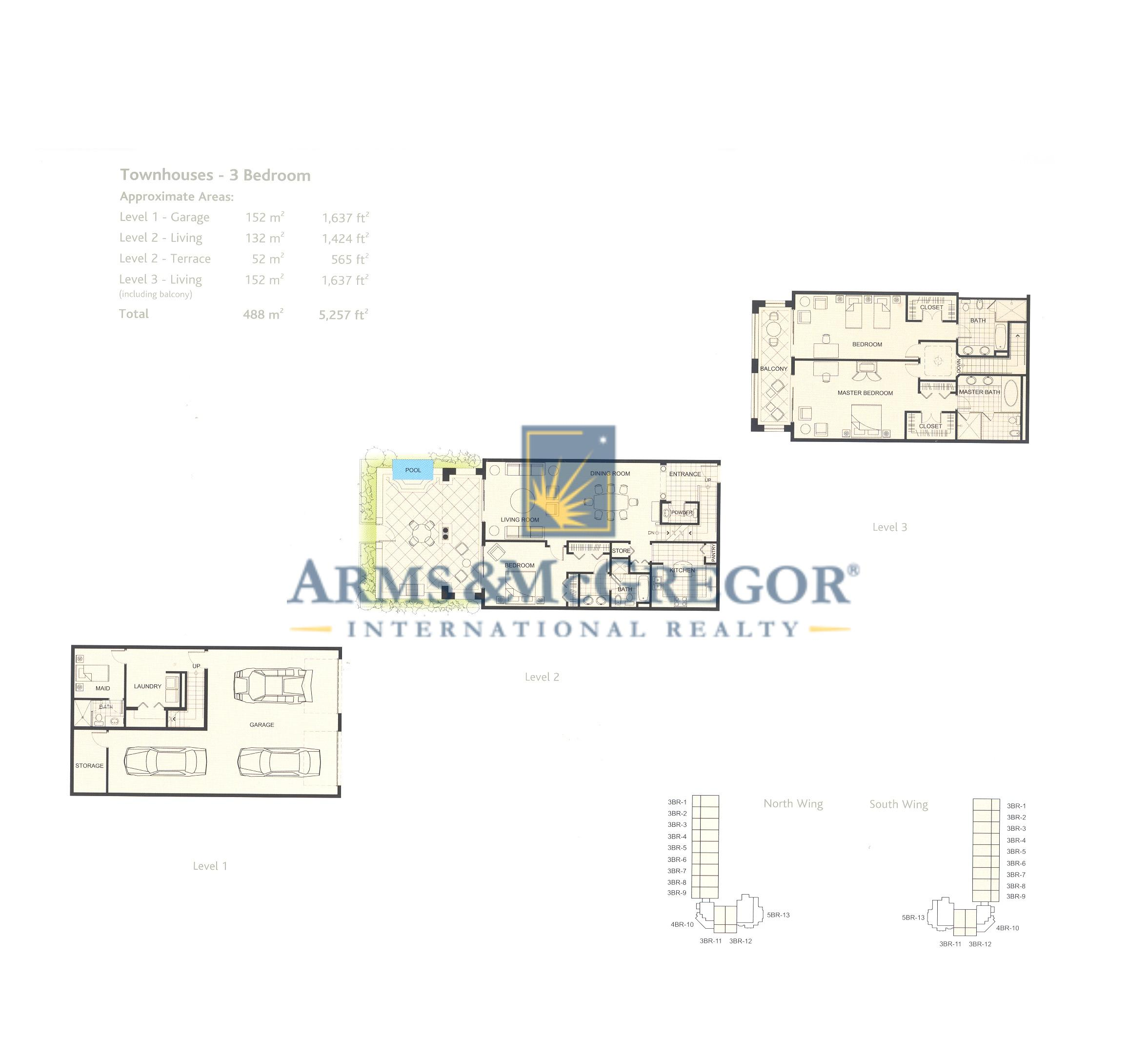 townhouse 3 bedroom floor plan